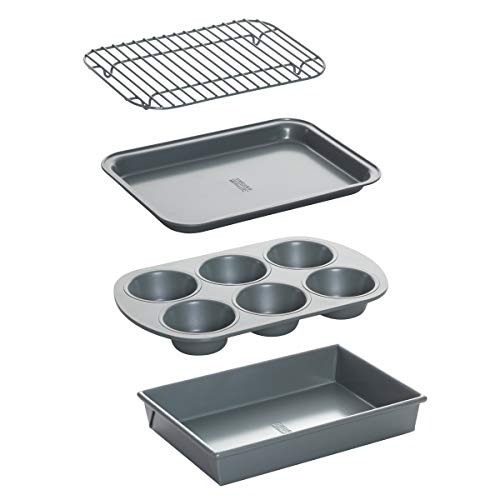 Chicago Metallic 8044 Non-Stick Toaster Oven Bakeware Set, 4-Piece, Carbon Steel (Toaster Oven Set)