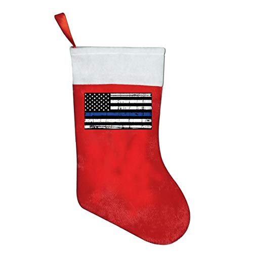 (LQLDHJ Thin Blue Line American Flag Novelty of Fashion Christmas Stocking Printed Christmas Holiday Socks)
