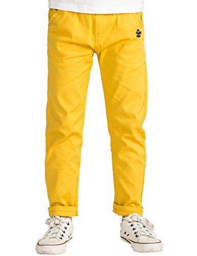 BYCR Boys' Solid Color Elastic Cotton Pant For Kids Size 4-12 No. 7160108132 (130 (US Size 6-7), Yellow)
