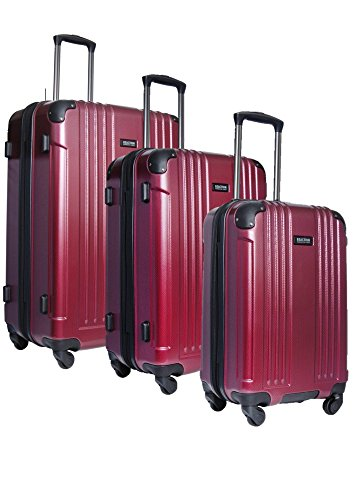 """Kenneth Cole REACTION Fleet Glider 3-Piece Hardside 4-Wheel Expandable Upright Spinner Luggage Set: 28"""", 24"""", and 20"""" (Red)"""