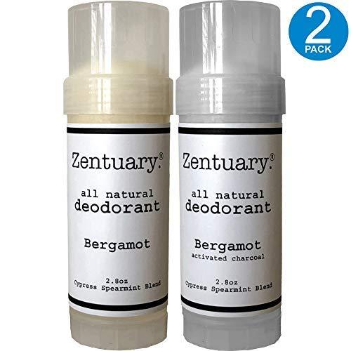 Body Deodorant Original Total (Zentuary All Natural Aluminum Free Deodorant, Handmade, 2.8 Oz Stick (Bergamot + Bergamot w/Activated Charcoal Bundle) 2-Pack)