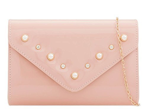 Prom Evening Faux Pink Bag Pearl Clutch Decoration Patent New Leather Ladies AcvP05q