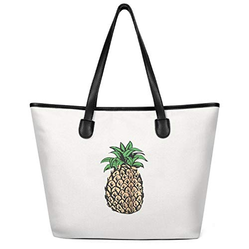 12.5X14 Inches Cute Zip Craft Canvas Large Tote Bag for Women Pineapple Design Cartoon Art Foldable Grocery Beach Work Gym Book Lunch School Shopping Shoulder Handbag -