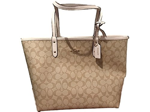COACH SIGNATURE REVERSIBLE CITY TOTE ( Light Khaki-Chalk) F36658
