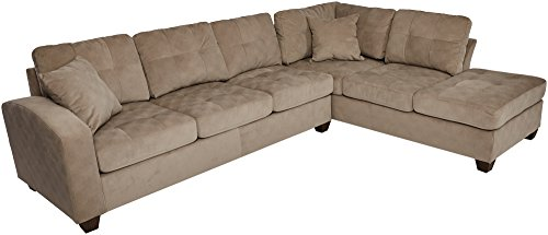 - Homelegance Sectional Sofa Polyester With Reversible Chaise and Two Toss Pillows, Taupe