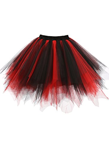 emondora Women's Tutu Tulle Petticoat Ballet Bubble Skirts Short Prom Dress Up Black/Red Size XXL-XXXL -