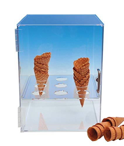 Cone Cabinet for Sugar or Waffle Cones | Choice Acrylic Display Brand | Includes Free Grocery Tote (Best Grocery Store Ice Cream)
