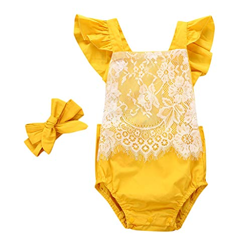 ❤️ Mealeaf ❤️ Newborn Infant Baby Girl Jumpsuit Bodysuit Lace Straps Romper Outfits Hair ()