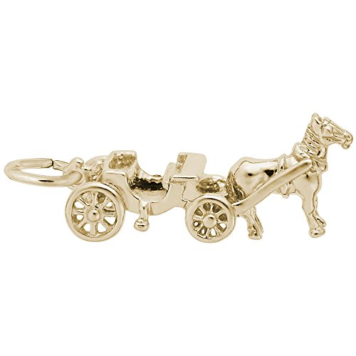 Carriage Charm In 14k Yellow Gold, Charms for Bracelets and Necklaces