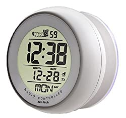 Atomic Bathroom Digital Alarm Clock With suction cup White