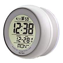 Atomic Bathroom Digital Alarm Clock With suction cup (1, White)
