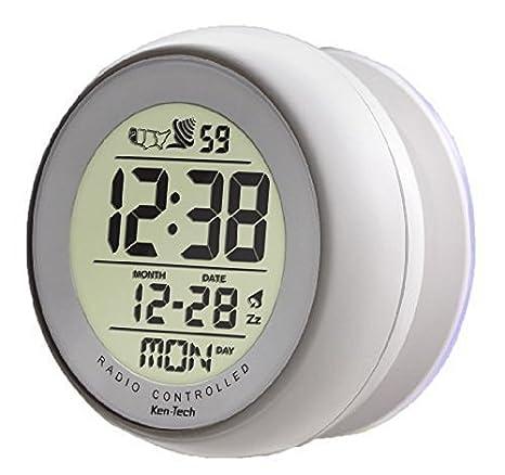 Atomic reloj despertador digital de baño con ventosa blanco: Amazon.es: Electrónica