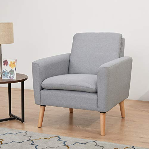 RUUF Accent Chair Armchair, Modern Fabric Single Sofa with Solid Wood Legs and High-Density Foam, Comfy Upholstered Sofa Chair for Living Room, Bedroom, Office, Gray