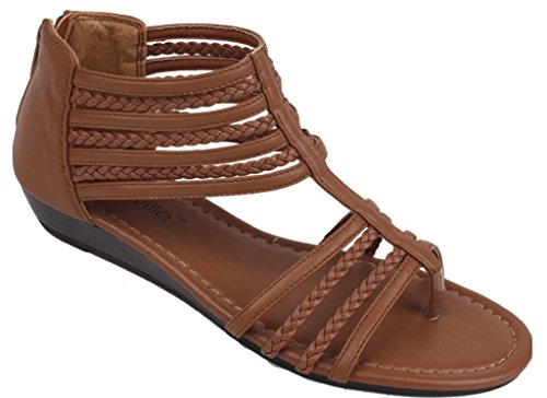 (Hazel's Star Braided Straps Gladiator Sandal with Back Zip Closure and Padded Insole, Brown, 11 (M) US)