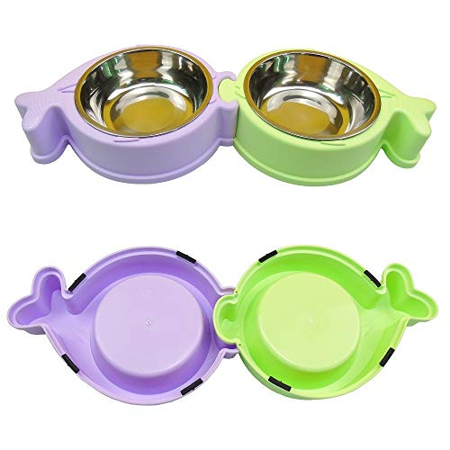 Stainless Steel Pet Dog Cat Double Bowl Feeder Set, with Plastic Non Skid Base, for Small Medium Dog Food Water Feeding, Set of 2 (Green Purple)