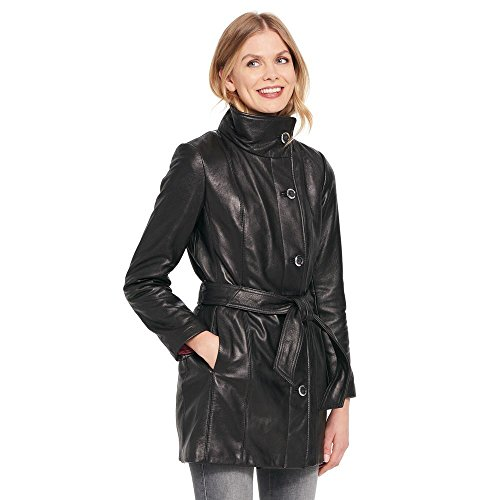 Wilsons Leather Womens Web Buster Wing-Collar Belted Lamb Hipster Jacket S (Belted Leather Tie)
