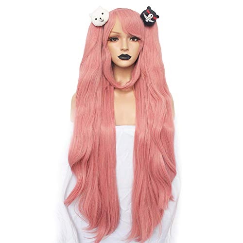 Anogol Hair+Cap Pink Long Straight Synthetic Wigs For Cosplay Costume Wig For Girls Wig For Cosplay Party With Hair Accessory for Halloween -