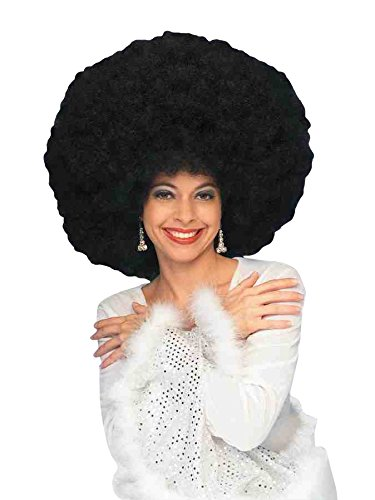Forum 70's Disco Deluxe Jumbo Afro Wig, Black, One -