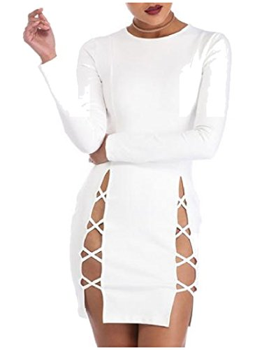 Abetteric Women's Long Sleeve Bandage Side Slit Hollow Out Bodycon Dress White XS