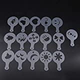Coffee Art Stencil Molds Cappuccino Templates Decorating DIY Tools Stainless Steel 16 Types Heart Smile Face Panda Moon Bowknot(16 Pcs)