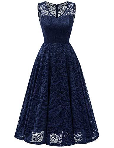 Meetjen Women's Cocktail V-Neck Dress Floral Lace Tea-Length Bridesmaid Party Dress Midi Navy L]()