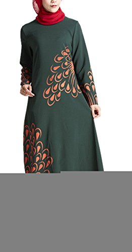 Casual Islamic Abaya Gown Ethnic Soft Feathers Printed Dubai Maxi Dress XL...