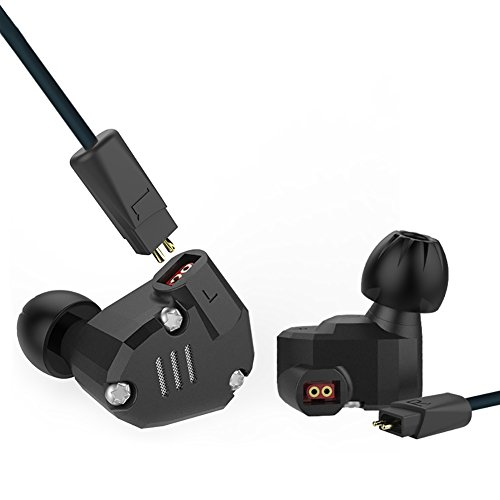 Quad Driver Headphones,ERJIGO KZ ZS6 High Fidelity Extra Bass Earbuds without Microphone,with Detachable Cable (Black)
