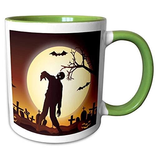 3dRose Sven Herkenrath Celebration - Happy Halloween with Zombie for Celebration Season - 11oz Two-Tone Green Mug (mug_294687_7) ()