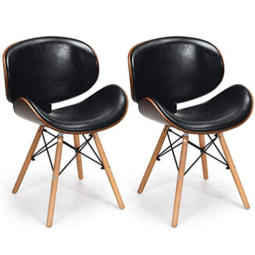 COSTWAY Set of 2 Dining Room Chairs, w/Soft PU Leather Seat, Back Chair and Wooden Legs, Leisure Chair with Fabric Upholstered Cushion and Non-Slip Plastic Pads, Assemble Easily (Fully Chairs Room Dining Upholstered)