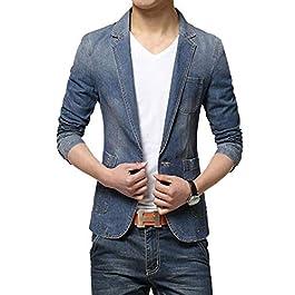 Suncolor8 Mens Solid Denim 1 Button Casual Slim Fit Suit Blazer Coat Jacket