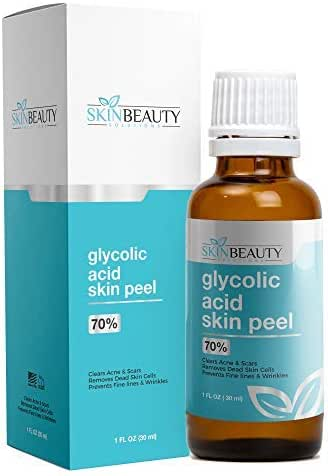 GLYCOLIC Acid Peel 70% Skin Chemical Peel - Unbuffered - Alpha Hydroxy (AHA) For Acne, Oily Skin, Wrinkles, Blackheads, Large Pores,Dull Skin (1oz/30ml)