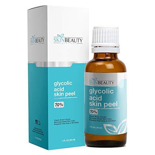 GLYCOLIC Acid 70% Skin Chemical Peel - Unbuffered - Alpha Hydroxy (AHA) For Acne, Oily Skin, Wrinkles, Blackheads, Large Pores,Dull Skin (1oz / 30ml)