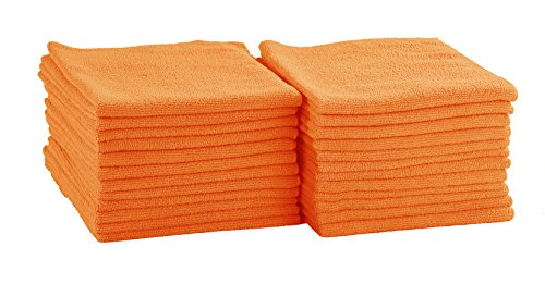 Dri Professional Extra-Thick Microfiber Cleaning Cloth - 16 in x 16 in - 24 Pack (Orange) - Ultra-absorbent, quick drying, chemical-free cleaning