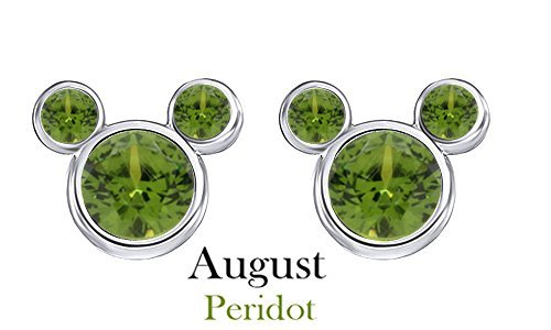 Bezel Peridot Stud Earrings (August Birthstone Peridot Mickey Mouse Stud Earrings In 14k White Gold Over Sterling Silver)