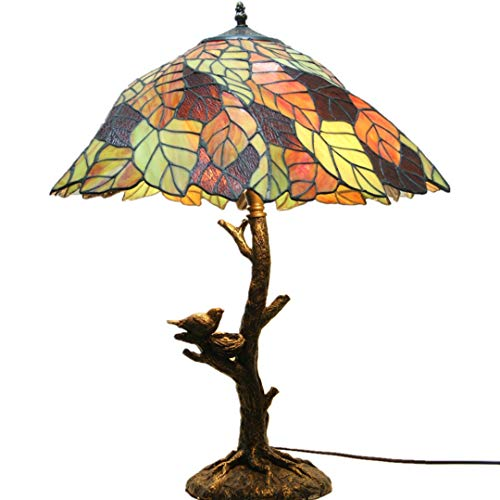 Leaf Carved Base - Tiffany Eye Protection Table Lamp - Handmade Colored Glass Leaves Decorative Bedside Lamp - Resin Carved Base / 20 Inch Lamp E27