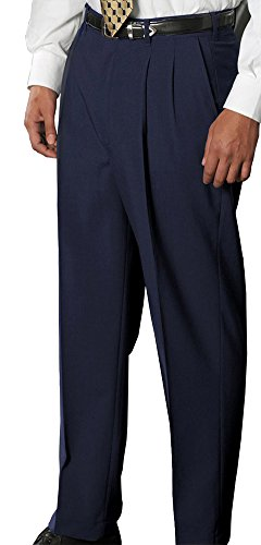 Edwards Men's Wool Blend Pleated Dress Pant, NAVY, (Blend Pleated Dress)