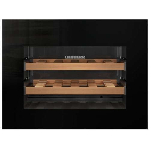 HWGB1803 24 Wine Cooler with 18 Bottle Capacity Single Zone LCD Display with Digital Temperature Display 3 Wooden Grid Shelves in Black