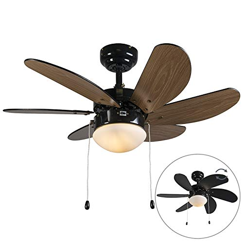 QAZQA Moderno Ventilador de techo FRESH 30 negro/madera Vidrio/Metálica Redonda Adecuado para LED Max. 1 x Watt: Amazon.es: Iluminación