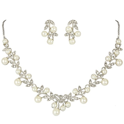 White Pearl Bridal Necklace Earring (EVER FAITH Women's Simulated Pearl Vine Leaf Bowknot Necklace Earrings Set)