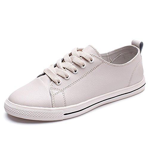 Odema Mujeres Leather Oxfords Lace Up Zapatos Flat Lowtop Hightop Zapatillas De Moda Simple Casual Preppy Style Zapatos Lowtopgray