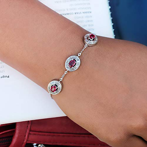 Ruby Diamond Three Charm Pave Round Bar Bracelet Link Chain Lobster Clasp 14K White Gold Easter Gift Jewelry