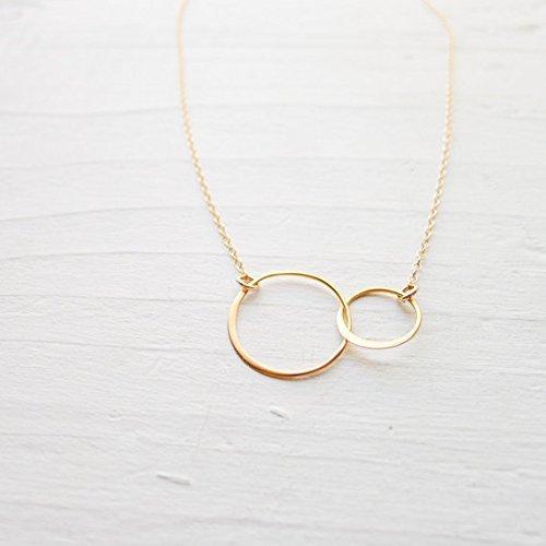 2 Circle Pendant, Gold Interlocking Circles Necklace