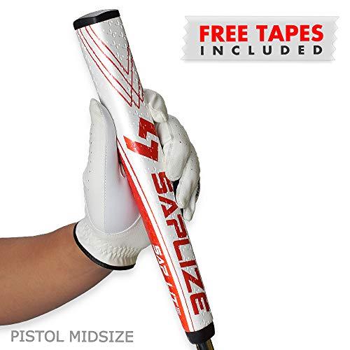 (SAPLIZE Golf Putter Grip, Sap Lit V2, Ergonomic Shape, Light, Anti-Slip Pattern, Mid Size, Red)