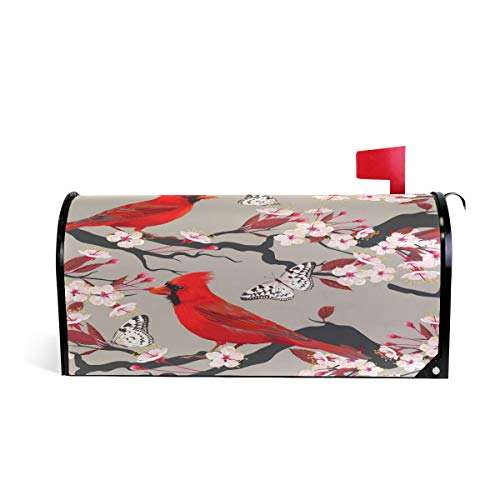ZZKKO Cherry Blossom Bird Butterfly Magnetic Mailbox Cover Wrap Standard Size 20.8 x 18 Inch Blossoms Magnetic Mailbox Cover