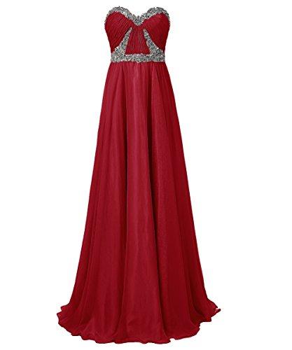 Dresstells®Vestido De Fiesta Largo De Gasa Elegante Escote Corazón Para Boda Rojo Oscuro