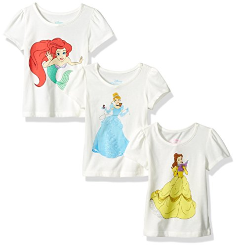 Disney Toddler Girls' Princess Belle, Cinderella, and Ariel 3 Pack T-Shirt, Multi, 3T (Princess Ariel Clothes)