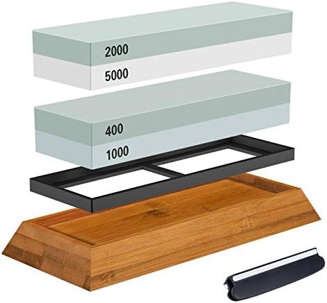 2枚 両面砥石包丁研ぎ器 滑り防止ゴム台付き 竹製の台座付き 角度固定ホルダー付き