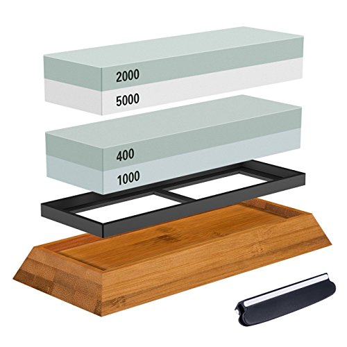 Premium Knife Sharpening Stone Kit, ASEL 4 Side 400/1000 2000/5000 Grit Whetstone, Best Kitchen Blade Sharpener Stone, Non-Slip Bamboo Base and Bonus Angle Guide Included