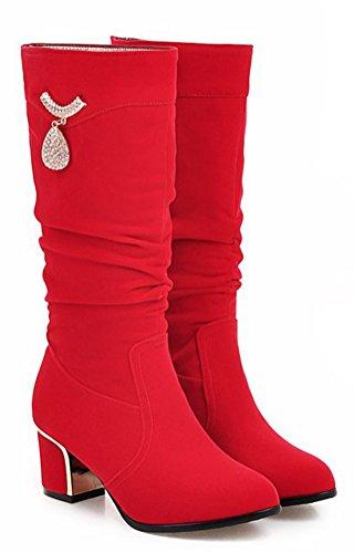 Easemax Damen Modisch Langschaft Metall Accessoire Strass Stiefel Mit Absatz Rot 32 EU rBJDjxZy8X