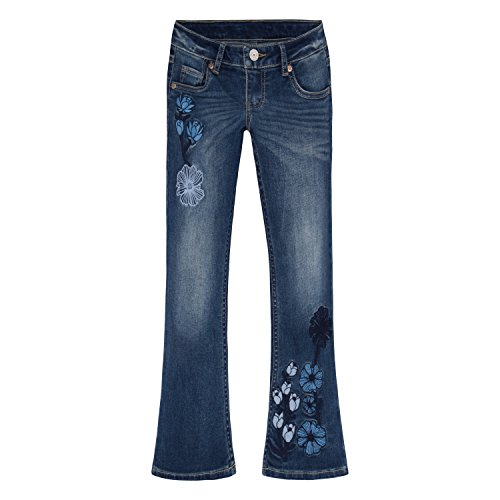 Levi's Big Girls' 715 Cropped Boot Cut Embroidered Jeans, Mellow Wave, 14